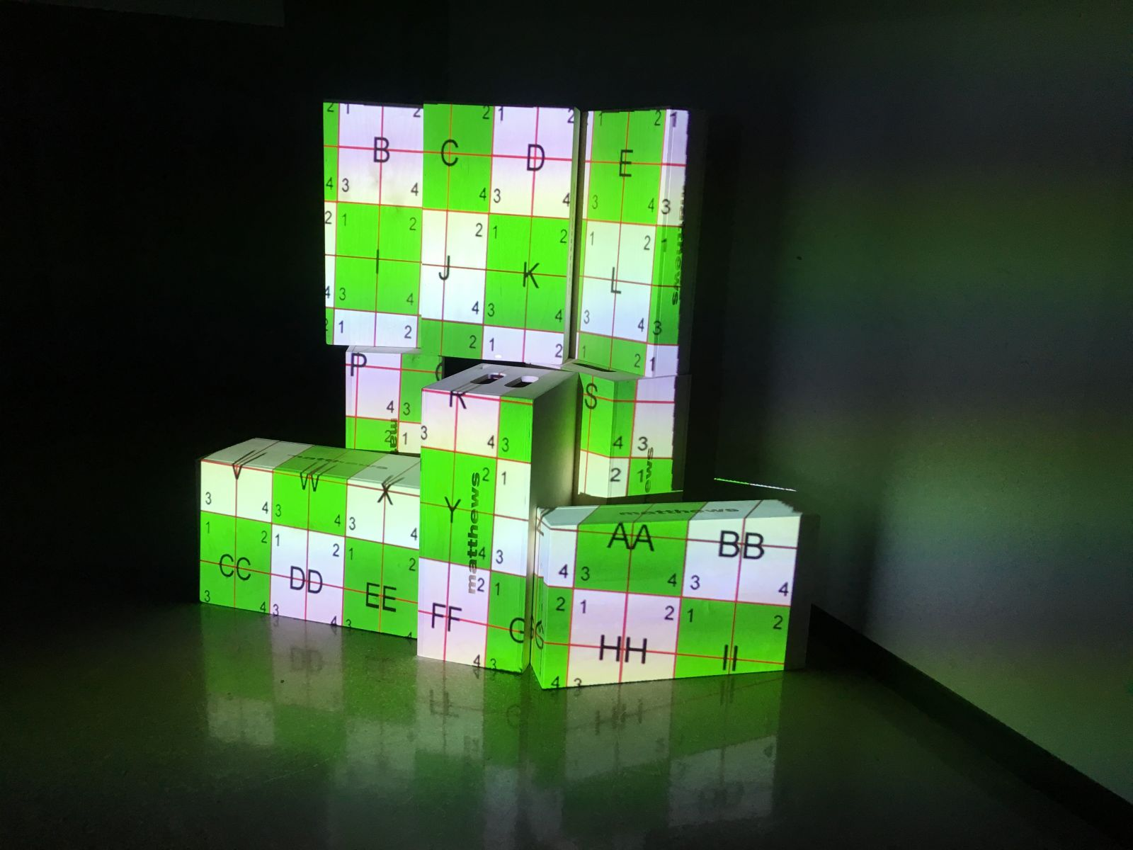 Projection of letters onto blocks