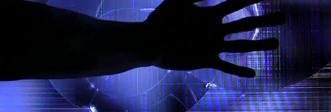 Silhouette of a hand over an abstract background